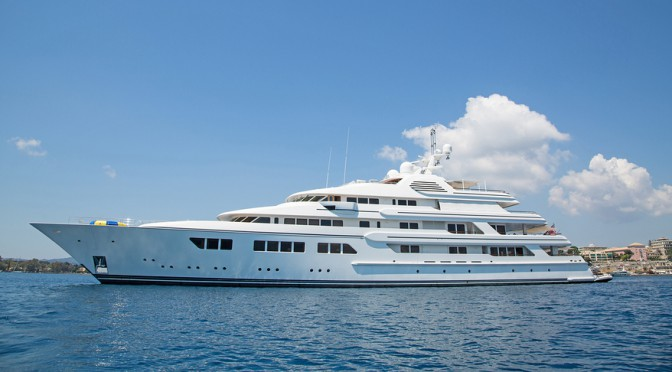 Luxury large super or mega motor yacht in the blue ocean. ** Note: Soft Focus at 100%, best at smaller sizes